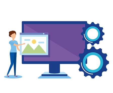 mini people with computer vector illustration design