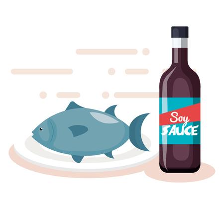 Botella de salsa de soja con pescado, diseño de ilustraciones vectoriales Ilustración de vector