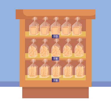 supermarket shelving with bread bags vector illustration design Illustration