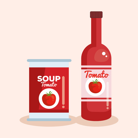 tomato ketchup and soup vector illustration design