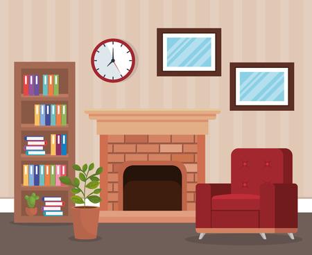 Wohnzimmerplatz mit Sofa Vektor-Illustration Design Vektorgrafik