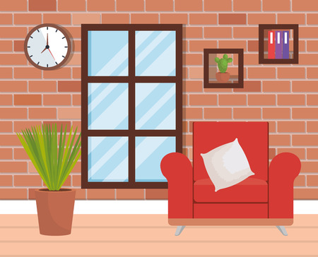 living room place with sofa vector illustration design Foto de archivo - 109620950