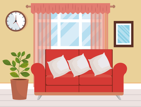 living room place with sofa vector illustration design Ilustracja