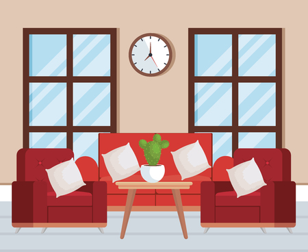 living room place with sofa vector illustration design 向量圖像