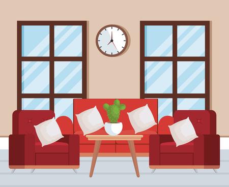 Sala de estar con sofá, diseño de ilustraciones vectoriales
