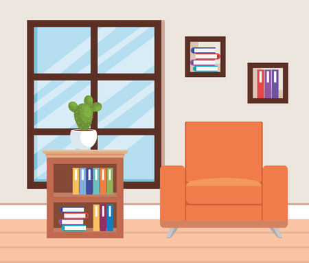 living room place with sofa vector illustration design