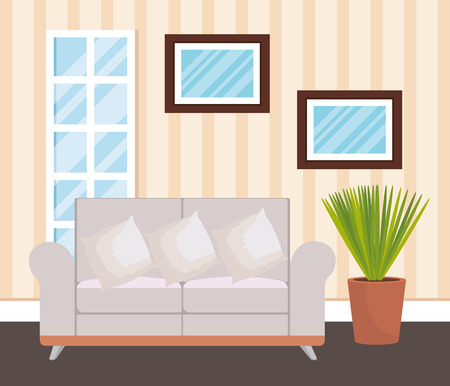 living room place with sofa vector illustration design Stock Vector - 109620967