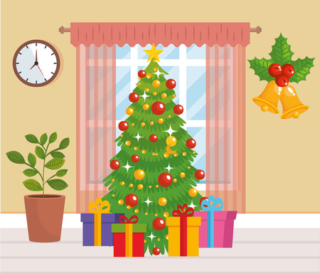 home place with christmas tree decoration vector illustration design