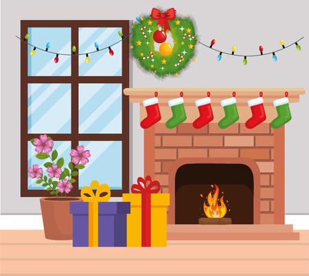 Schornstein mit Weihnachtsdekoration Vektor-Illustration Design