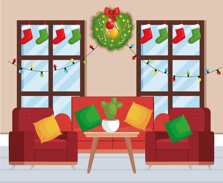 house livingroom with christmas decoration vector illustration design