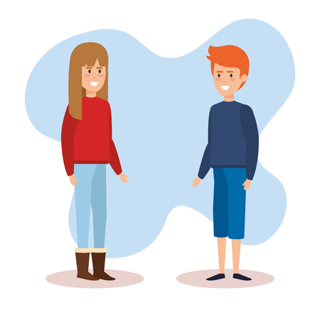 couple with december clothes vector illustration design
