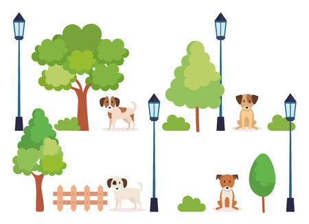 group of dogs in park vector illustration design