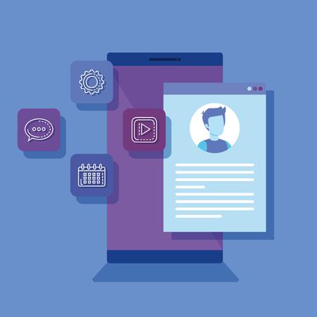 smartphone with social media icons vector illustration design Illustration