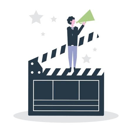 cinéma, gens, production, clap, homme, utilisation, mégaphone, vecteur, illustration
