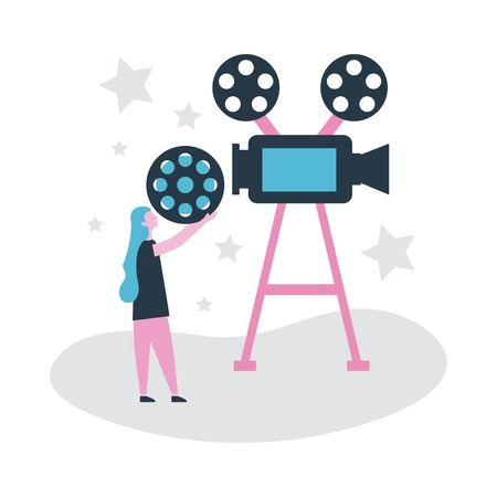 movie people production girl holding film camera projection vector illustration