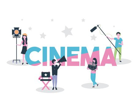 movie people production cinema scenography vector illustration