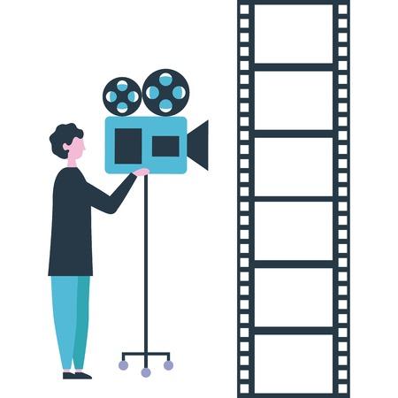 movie production man using film camera tape vector illustration