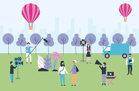 movie people production park hot air balloons recording scenes vector illustration