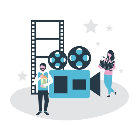 movie people production film camera tapes vector illustration