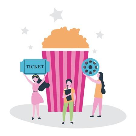 movie people popcorn tape ticket entry vector illustration