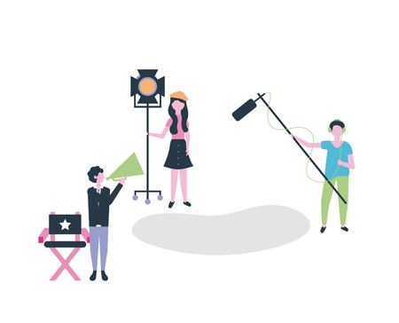 movie people production start scene man holding microphone camera light vector illustration Stock Photo