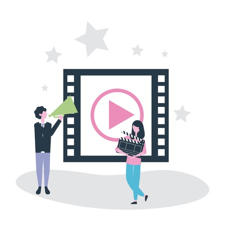 movie people woman holding clapperboard man using megaphone tape video vector illustration Archivio Fotografico - 109695995