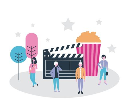 movie people production popcorn trees stars background vector illustration