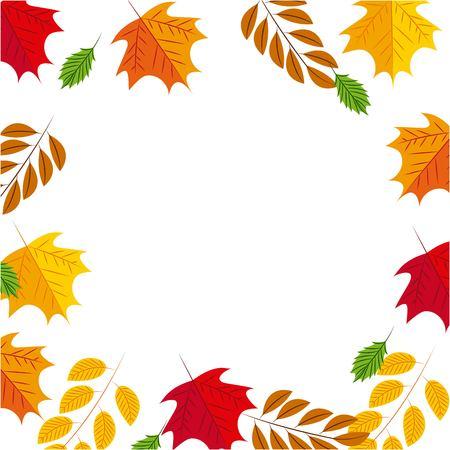colors leaves frame decoration background vector illustration Banco de Imagens - 109674645