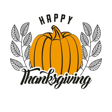 happy thanksgiving pumpkin leaves delicious vector illustration