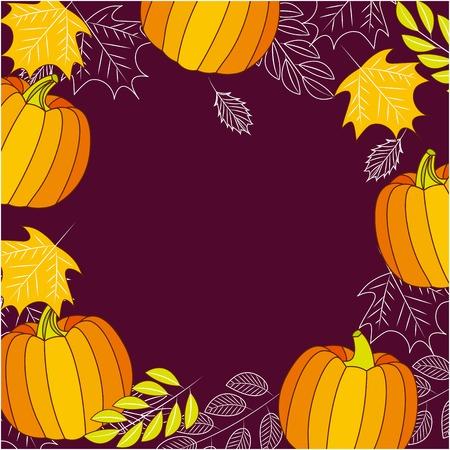 pumpkins leaves wheats decoration frame vector illustration Banco de Imagens - 109695999