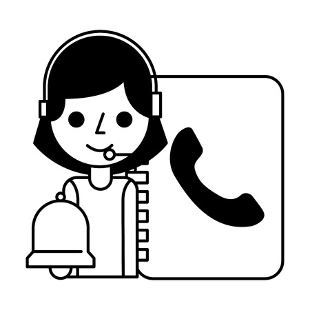 call center girl address book and bell vector illustration 스톡 콘텐츠 - 109696002