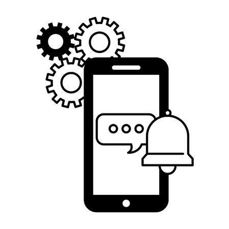 call center smartphone toespraak bubble bell ondersteuning vectorillustratie Vector Illustratie