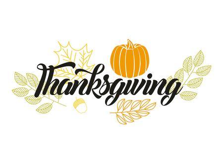 happy thanksgiving leaves sign pumpkin vector illustration