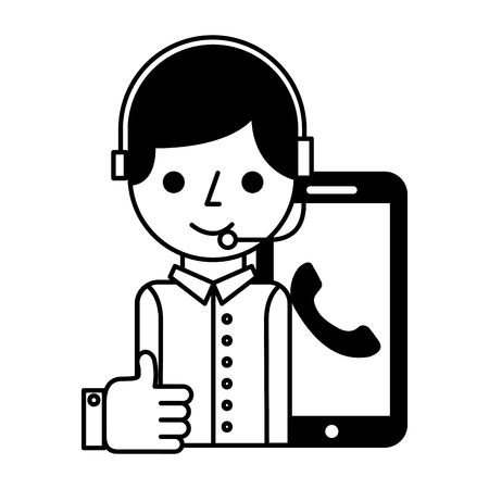 call center boy with smartphone helpline like vector illustration