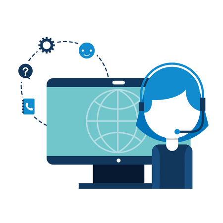 call center girl computer world vector illustration