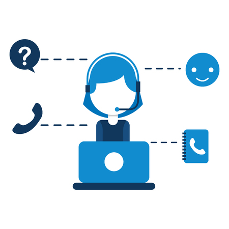 call center girl laptop telephone support vector illustration