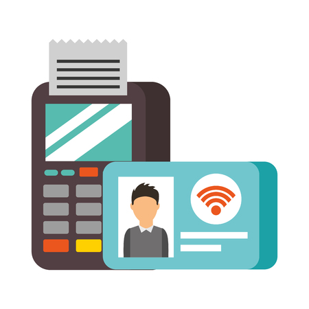 terminal confirms id card nfc payment vector illustration