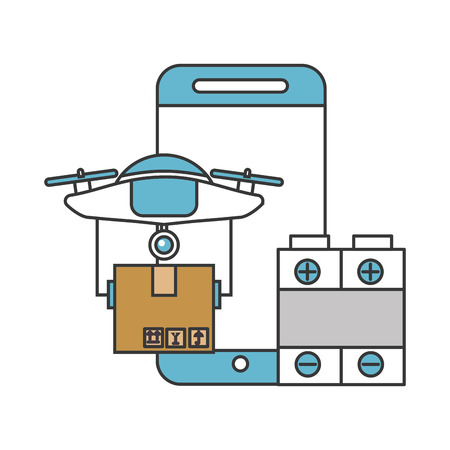smartphone battery delivery drone technology vector illustration