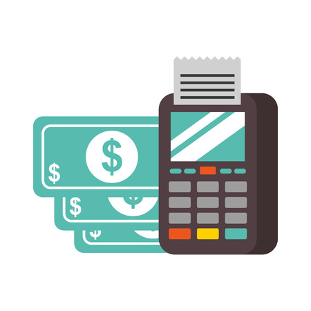 nfc payment terminal banknote money vector illustration