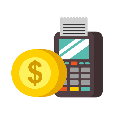 terminal confirms coin money nfc payment vector illustration Illustration