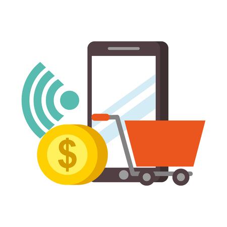 smartphone shopping cart money nfc payment vector illustration