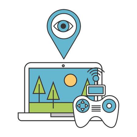 laptop controller surveillance drone technology vector illustration  イラスト・ベクター素材