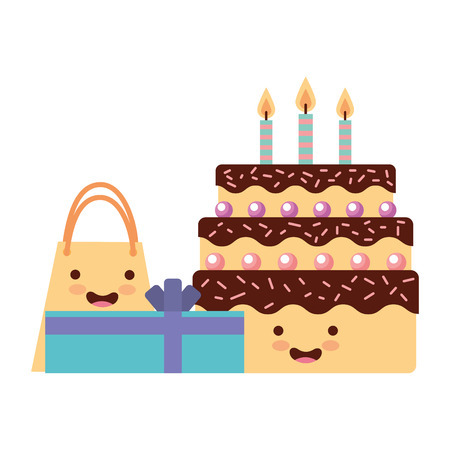 birthday kawaii cake gift and bag party vector illustration