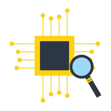 motherboard circuit magnifying glass fintech vector illustration