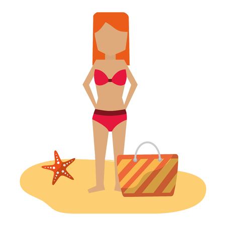woman in bikini with bag beach vacations vector illustration