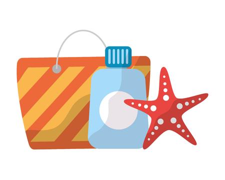 bag sunblock and starfish beach vacations vector illustration