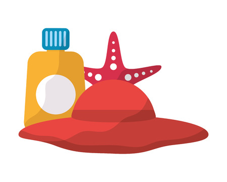 hat starfish and sunblock accessorie beach vacations vector illustration