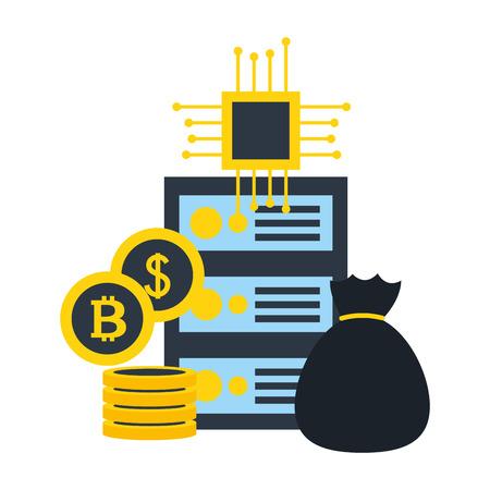 database server money bag bitcoi dollar circuit fintech vector illustration 일러스트