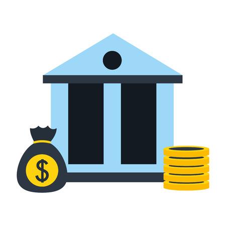 bank website report and bitcoin fintech vector illustration Illustration