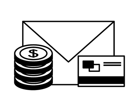 bank card email dollar coins money fintech vector illustration